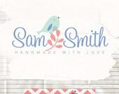 Sweet logo design - pre made logo - budget logo - little bird logo - boutique logos - photographer logo - cute bird logo design