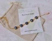 Natural Blue & White Porcelain Gold Plated Bracelet