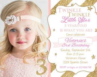 Pink and Gold Glitter Birthday Party Invitation - Twinkle Twinkle Little Star First Birthday Invite