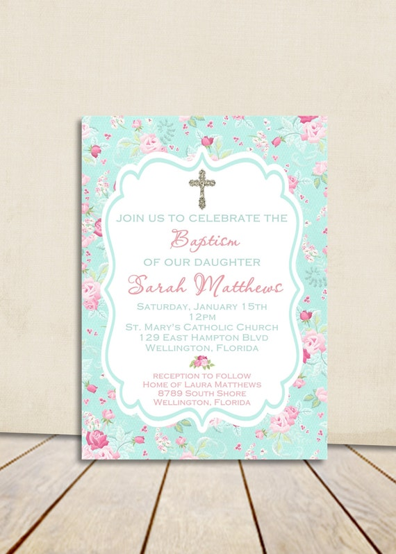 Baptism invitation printable floral girl baptism invitation baby il570xn stopboris Images
