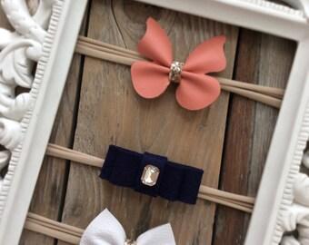 White Leather Bow Nylon Headband Coral Leather Butterfly Headband Nylon Headbands Baby Girl Headbands Newborn Headbands Photography Props