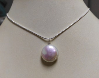 Free shipping -   14-15 mm white coin pearl necklace pendant