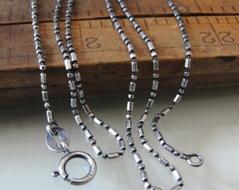Fancy Delicate Sterling Silver Chain Necklace 18 inch (1mm) antique style oxidized for RQP Studio wax seal jewelry