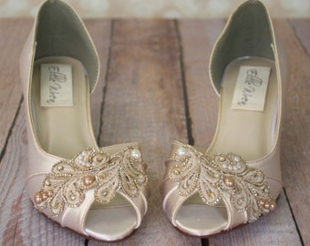 Ivory Wedding Shoes Champagne Bridal Lace Accessories