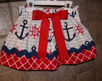 Girls Skirt Custom skirt Nautical ..Anchors Away Red White Blue..Available in 0-12 months, 1/2, 3/4, 5/6, 7/8, 9/10 Bigger Sizes Available