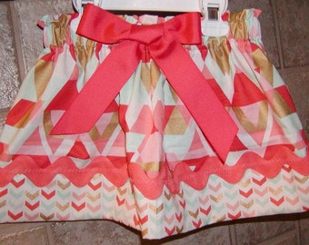 Girls Toddler Infant Skirt Custom..Gold N Coral N Azteck..Available in 0-12 months, 1/2, 3/4, 5/6, 7/8, 9/10 Bigger Sizes Available