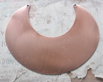 TWO Brass Necklace Bases, Crescent, Copper Plated with some discoloration, Black Back