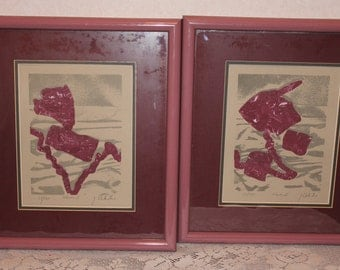 Two Signed Framed J. Valentine Prints Limited Edition Numbered Waves Print