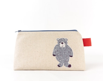 Large Makeup Bag Bear, Rabbit, Turtle Cute Cosmetic Bag Woodland Animal Wash Bag