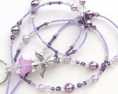 LAVENDER ANGEL- Beaded ID Lanyard Badge Holder-Sparkling Crystals, Lucite Beads, and Glass Pearl Beads (Magnetic Clasp)