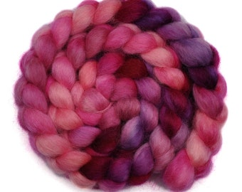 Hand painted spinning fiber - Wensleydale wool combed top roving - 4.1 ounces - Wonder Child