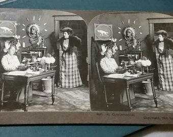 Consternation ~Antique Stereoscope Card by International View Co. 1903
