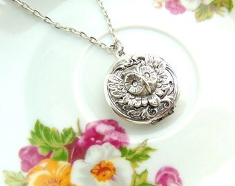 Locket Swirl With Feathered Owl Design Antique Silver Handcrafted by TheTown Tinker