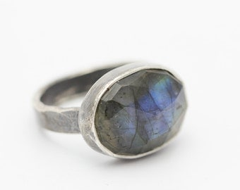 Rose-cut Labradorite, Sterling Silver Ring, Blue Flash, Rustic Chic, Statement Ring, Size 5.25