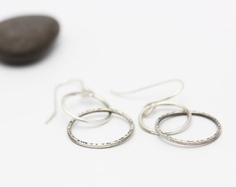 Long Silver Earrings, Linked Circle Earrings, Sterling Drop Earrings, Minimalist, Unique Gift