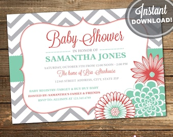Girl Baby Shower Invitation, Coral, Mint Green, Aqua, Gray, Chevron, Flowers, Baby Girl Shower, Printable (INSTANT DOWNLOAD) IDS1024
