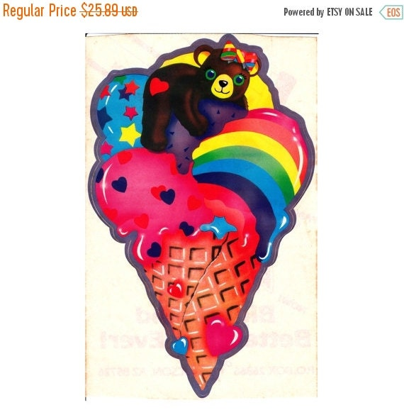 ON SALE Very Rare Huge Vintage Lisa Frank Teddy Bear on a Rainbow Ice Cream Cone Sticker Sheet - 80's Collectable