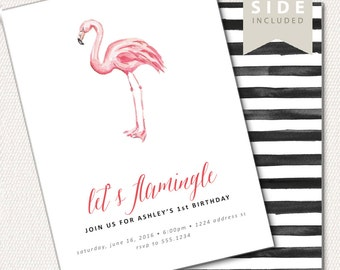 Flamingo Invitation - Let's Flamingle Watercolor Printable for Birthday, Baby Shower or Bridal Shower Party