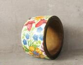 Floral boho bracelet. wooden bracelet, flowers, wooden natural bracelet