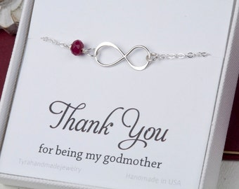 Godmother gift,Godmother infinity bracelet,Godmother thank you card,Infinity turquoise bracelet,Godmother jewelry