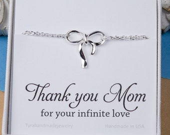 Thank you mom bow bracelet with note card,Mother gift,mother of bride gift,mother's day gift,knot bracelet,custom note card,best friend gift