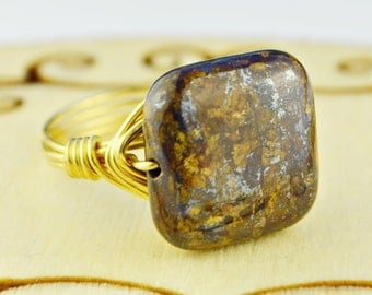 Square Bronzite Ring- Sterling Silver or Gold Filled Wire Wrapped Ring with Brown Gemstone - Any Size 4, 5, 6, 7, 8, 9, 10, 11, 12, 13, 14