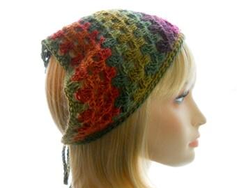 Vegan Kerchief, Women's Crochet Bandanna in Greens, Oranges and Burgundies