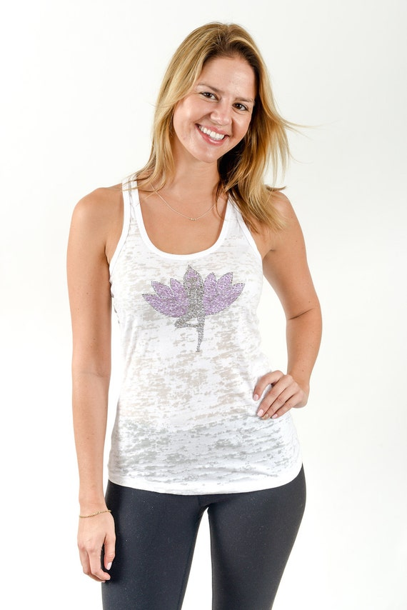 Yoga Tree Pose (made out of small words) - perfect for yoga burnout racerback tank top - white