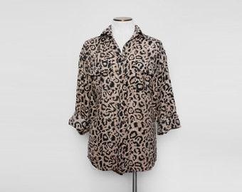 Vintage Silk Blouse. Animal Print Button Down Shirt. Leopard Print Oversize Shirt. Boyfriend Shirt. Medium Large.