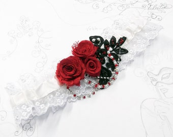 Red, Black & Ivory Wedding Garter - Silk and Lace with Roses, Crystals and Pearls