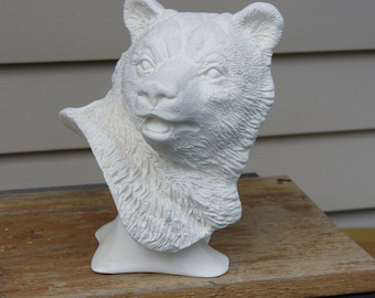 Ceramic Bisque Bear Bust