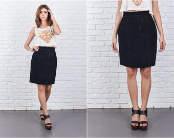Vintage 80s Black Suede Leather Skirt High Waist Mini Small S 7741 vintage skirt 80s skirt black skirt suede skirt leather skirt mini skirt