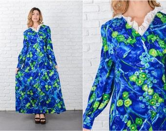 Blue Lace Hawaiian Dress Vintage 70s Tropical Floral print Maxi Medium M 7968 Blue Dress Lace Dress Vintage Dress Maxi Dress Medium Dress
