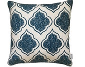Navy blue Lanterns linen cushion cover with navy piping (EURO size)