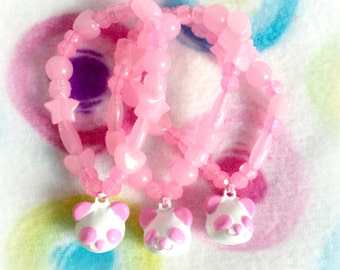 Animal Crossing Pastel Pinky the Pink Panda Glow-in-the-Dark Kandi Jingle Bell Charm Bead Bracelet