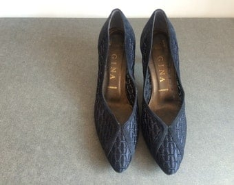 Vintage Gina Navy Mesh Mid-Heel Evening Shoes Size 5 UK, 7.5 US, 38 EU