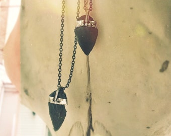 Obsidian / Dragonglass Arrowhead Necklace