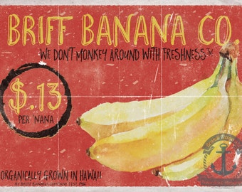 Briff Banana Co Organic Fruit Food & Kitchen Decor Product Options and Pricing via Dropdown Menu
