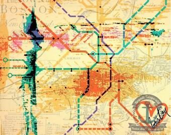 Heart Set on Boston Mass Transit The T City Decor Product Options and Pricing via Dropdown Menu
