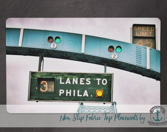 Placemat - Ben Franklin Bridge | 3 Lanes to Philadelphia Vintage Sign | Anti Skid/Non Slip Fabric Top Rubber Backed Awesomeness