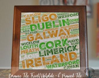 "Trivet Hot Plate: Ireland  |  Irish Typography Decor  |  6"" Ceramic Tile Trivet Kitchen AccessoryProduct Sizes and Pricing via Dropdown Menu"