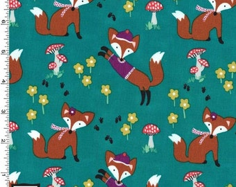 Lil' Foxy on Teal from Michael Miller's Fox Woods Collection