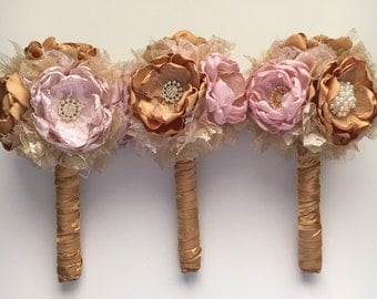 Gold and Blush Small Bouquets - Fabric Flower Bouquets, Fabric Bouquets, Gold and Pink Wedding, Pink Gold Wedding, Bridesmaids Bouquets