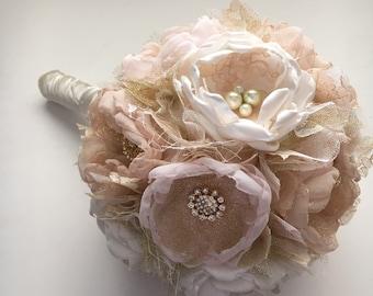 Large Size Bouquet - Pale Pink, Champagne, Gold and Cream - Fabric Flower Bouquet, Heirloom Bouquet, Brides Bouquet, Fabric Flowers, Bride
