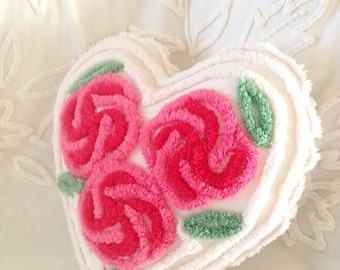 Vintage Chenille - Cabbage Roses Heart Pillow - Very Sweet, Pink and Red Roses