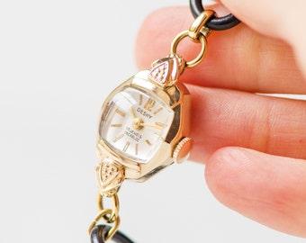 Art deco style lady's watch DESKY, gold woman watch 14K, tiny Swiss wristwatch her, unique woman's watch delicate, premium leather strap new