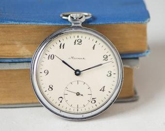 Sleek men's pocket watch, mid century Molnija\Lightning watch, silver shade minimalist pocket watch, gent's timepiece gift him, dress watch