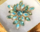 Juliana Style Rhinestone Pin Large Brooch Turquoise Rhinestones and Givre Glass Open Back Navettes Rhinestone Jewelry Gift For Her