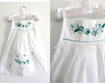 70s 80s Baby Girl White Summer Sun Dress Aqua Ombre Embroidered - 1-2 y