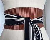 Off to the Circus obi sash, steampunk style obi sash, black and white striped obi, japanese inspired obi belt sash, reversible waist cincher